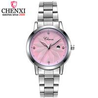 CHENXI Yeni Moda Takvim Dial Kadınlar Kuvars Saatler Bayanlar Çelik Watchband saatı Kadın Moda Günlük Aşıklar Hediye