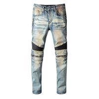 Männer Jeans Kimsere Hi Street Ripping Biker Hosen Mode Streetwear Motorrad Denim Hose Leder Patchwork Größe 28-40