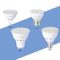 Bombilla LED ABS SMD2835 48 60 80leds E27 E14 MR16 GU10 lámpara 110V 220V blanco caliente LED proyector de la lámpara de luz Lampada comer