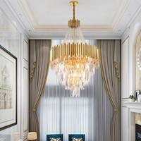 Samtida K9 kristall ljuskrona belysning lyxig guld rostfritt stål lång hänge ljuskronor lampa för duplex byggnad penthouse trappor