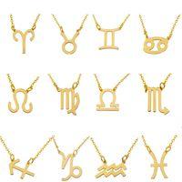 12 colliers du zodiaque Signe de constellation Pendentif avec des chaînes plaquées en or pour hommes Femmes Mode bijoux