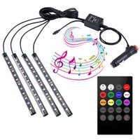 LED-Lichtleiste Drahtlose Fernbedienung eines für vier 48 Lichter 5V intelligente Sprachsteuerung bunte Reihe führte Auto Atmosphäre Lichter