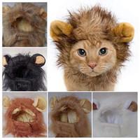 Pet Cat Эмуляция Lion волос Mane Уши Head Caps Шляпы Cat Dress Up Парик Pet Puppy парик Смешные льва головных уборов Hat
