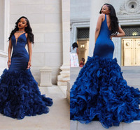 2019 Sexy Deep V-Neck Prom Dresses Sleeveless Organza Ruffles Skirt Mermaid Dress Backless Sweep Train Royal Blue Evening Gowns