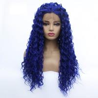 Vente en gros Profonde bouclés avant de dentelle perruque bleu cheveux chaleur fibres résistant synthétique avant de dentelle perruque Glueless demi-main attachée pour toutes les femmes