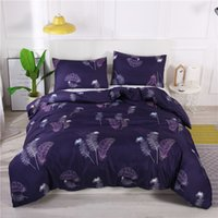 Bedding Set Polyester Feather Print Purple Color Quilt Cover...