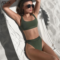 Kadın Mayo 2021 Katı Bandaj Bikini Push Up Mayo Kadın Mayo Yüksek Bacak Tana Brezilyalı Biquini Yüzme Beachwear