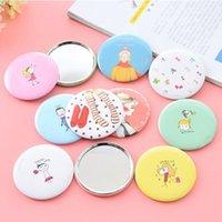 미니 메이크업 미러 소녀 포켓 미러 귀여운 만화 패턴 휴대용 소형 화장품 작은 거울 여성 미용 도구 선물 VT0340