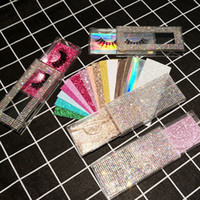 Bling wimpern verpackung diamant glitter rechteck false wimpern box leer koffer gefälschte renne kunststoffboxen