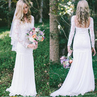 2019 Elegant Scoop Lace Mermaid Wedding Dress Long Sleeve Ba...