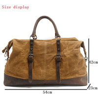 Vintage Large Canvas Oiled Tote Duffel Men Travel Bag Leather Waxed Weekend Capacity Holdall Basic Overnight Bags Ivukw