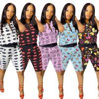 Tişörtlü Şort Spor Suit Eşofman Spor 5 renk D61507 fermuar Kadınlar Mektupları Dudaklar Baskı Yaz Şort Takımı İki Adet Set