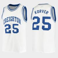 Chrighton Bluejays 대학 카일 코버 # 25 화이트 레트로 농구 유니폼 남성 스티치 사용자 정의 번호 이름 유니폼