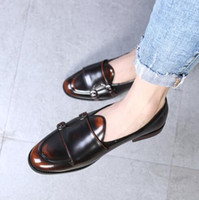 Fashion Monk Strap Leather Shoes Men British Style Loafer Ca...