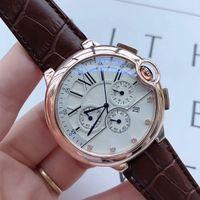 Yüksek kaliteli Erkek moda Saatler Deri kayışı kronometre Tüm küçük çevirir erkek Suya Dayanıklı reloj de lujo için çalışmak