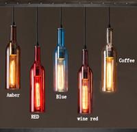 램프 매달려 2020 빈티지 LED 샹들리에 램프 E27 레드 와인 병 유리 펜던트 조명 레스토랑 카페 바 호텔 와인 병
