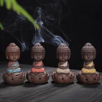 작은 몽크 가죽 장식 선물 세라믹 보라색 모래 부처님 향 버너 가정 장식 예술 및 공예 무료 DHL