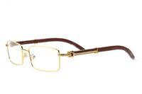 Neue Ankunft Holz Sonnenbrille für Männer 2019 Mode Büffelhorn Brille Gold Metallrahmen klare Linsen Büffel Sonnenbrille kommen mit Box
