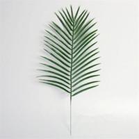15pcs 인공 플라스틱 꽃 꽃꽂이 결혼식 가정 훈장을위한 녹색 식물 가짜 팜 트리 잎 녹지 잎