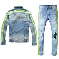 Berühmte Marken-Men 2 bessert Satz-2020 Mens Light Blue Jeans Set kreative Trim und zerrissene Holes Jeansjacke + Stretch Biker Jeans