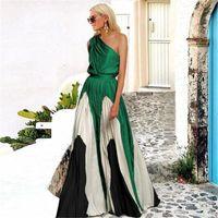 Bayan Tasarımcı Seksi Elbiseler Straplez Uzun Elbise Yaz Panelli Baskı Kontrast Renk Rahat Elbiseler Kadın Giyim