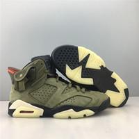 Avec Box 2019 Chaussures de basketball Hommes Sneakers 6S Moyenne Olive Sude Chaussures de sport en plein air pour hommes Formateurs US7.5-13