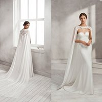 Women Cape Veil Lace Chiffon LaceApplique Long Wedding Capes...