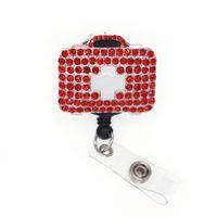 símbolo da cruz caixa de Medicina enfermeira vermelho Rhinestone ID Badge Reel médico de primeiros socorros caso RN crachá retrátil titular carretel Com clipe jacaré
