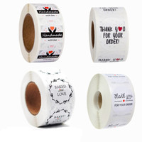 500pcs Roll White Baked with Love Stickers Paper Thank you f...