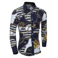 Homens Flor Camisa Outono Outono 3D Impressão Moda Casual Slim Fit Vestido havaiano Camisas Camisa Masculina Chemise Homme