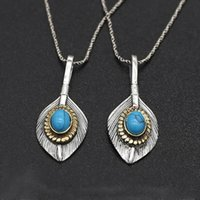 eagle feather pendant For man and women Thai silver Jewelry models hand-set blue turquoise