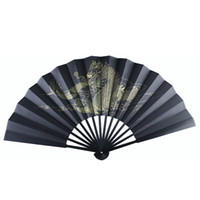 كبير العتيقة التنين الأسود الحرير مروحة اليد الصينية للطي مروحة رجل التقليدية الحرفية هدية مروحة