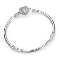 D'argento a forma di cuore catena Chiusura Zirconia Snake braccialetti dei braccialetti per le donne gli uomini Montare perle europee fascini monili all'ingrosso
