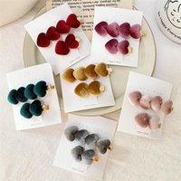 6 Farbe Mädchen-Weinlese-Samt-Herz-Form Haarnadel Haarclips Hairgrips Kopfbedeckung Haar Styling Werkzeuge Zubehör Großhandel