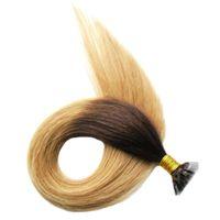 """ombre бразильские волосы 14 """"18"""" 20 """"22"""" 24 """"Remy Fusion Наращивание волос Прямые 100шт Наращивание ногтей с плоским наконечником"""