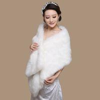 Elegantes envolturas de boda blancas Blanco Negro Red Faux Fur Shrug Cape Stole Wrap Wedding Nupcial Special Ocase Mantón