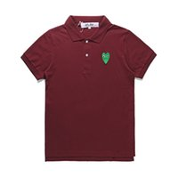2019 New fashion COM all'ingrosso Best Quality vino rosso Green Heart DES GARCONS PLAY Nero Polo T-Shirt Taglia M Made In Japan Junya Homme Plus