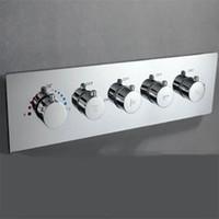 Boa qualidade 4 Função torneira do chuveiro válvula termostática Shower Mixer Latão acabamento cromado montado na parede Oculto Misturando