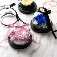 Konservierte Blume Valentinstag Geschenk Exklusive Rose im Glaskuppel mit Lichtern Ewige Echt Rosen-Mutter-Tagesgeschenk
