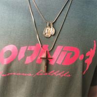 Хип-хоп из нержавеющей стали двойной Мадонна крест ожерелье Мода Заявление Простой Шарм Короткие Choker Ожерелье Женщины Мужчины партии Подарки