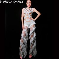 Women Sexy Stage Lace Rhinestones Tassel Jumpsuit Stage Romp...