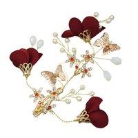 Flor Vermelha casamento Armazém US Borboleta do ouro Hairbands casamento Tiara pérolas cabelo Headbands jóias acessórios de