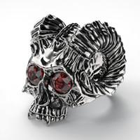 Luxury Death Punk титановые стали перстни Скелет ювелирные изделия черепа Кольца Anniversary Party Обручальное Свадебные подарки для мужчин