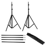 6.6x9.8FT Achtergrond Ondersteuning Stand Set Verstelbare Achtergrond Stand Crossbar Kit Set met Case 3 Clips Zwart voor fotografie