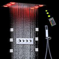 サーモスタットハイフローシャワーミキサーセット降雨天井シャワーパネルボディジェットマッサージ電力の電源LEDライト3機能バスシステム
