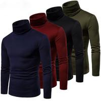 Los hombres de manga larga de cuello alto suéter de cuello alto estiramiento delgado camiseta Tee
