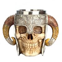 Copa Taza de acero inoxidable del cráneo de Viking de cuernos del espolón Pit Señor Guerrero cerveza Stein jarra de té del café de Halloween Vasos Bar Gift