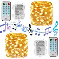 Luces de cadena de música LED Sonido impermeable activado 5M 10M Alambre de cobre Twinkle String Lights para la boda de la Navidad de la fiesta