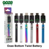 Ooze Bottom Slim Pen Twist Kit del cargador de batería 320 mAh Precalentamiento Voltaje variable VV Bud Touch 510 Thread Vape Batería para cartucho de aceite grueso
