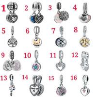 Se adapta a las pulseras 50 unids Tema mixto Cuelga Cuello Charm Beads Colgante Esmalte Plata Corazón Cristal Cristal Europeo Encantos Accesorios DIY Joyería